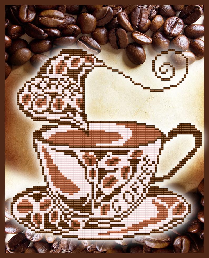 Кофе для нее вышивка схема 12